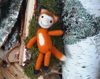 OOAK needle felted doll Foxy Roxy, dollpendant, doll brooch, needle felted miniature doll, felted doll brooch