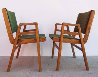 Mid Century Modern Green Pinstripe Nightingale Side Arm Chair Pair