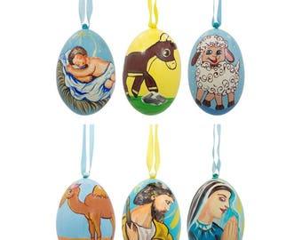 "3"" Set of 6 Nativity Scene Set Ukrainian Wooden Christmas Ornaments"