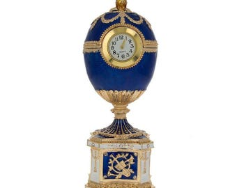 1904 Kelch Chanticleer Blue Enamel Faberge Egg with Clock
