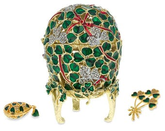 1902 Clover Leaf Faberge Egg With Brooch And Pendant