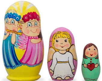 """4.25"""" Set of 3 Guardian Angels with Flute, Heart Wooden Nesting Dolls"""