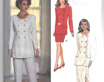 UNCUT Butterick 6414 Double Breasted Top, Pants and Skirt Sewing Pattern Ronnie Heller Size 18 to 22, Bust 40 to 44
