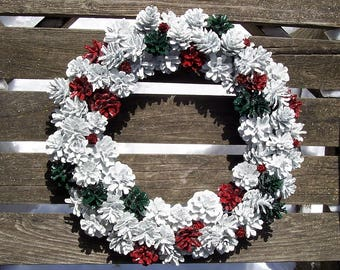 Christmas Wreath with or without sparkle.  Custom Colors Available.  Pine Cone Wreath.  Winter Wonderland Collection.   Door wreath.