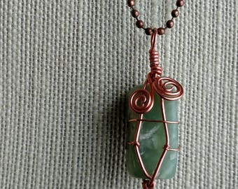 Green Fluorite Necklace - Copper Necklace - Wire Wrapped Necklace