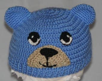 Little bear blue crochet baby Beanie handmade