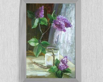 Original oil painting with lilac gift for your loved ones/ Still life with lilacs/ Lilac on the table/ Oil/ canvas