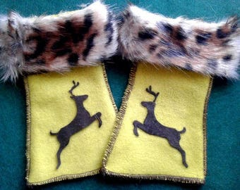 Fleece fun fur wrist warmers, deer, rabbit, bear or Dragonfly felt applique to choose from
