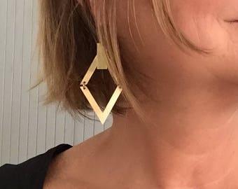 Earrings Golden brass, Machanou jewelry for her handmade pierced earrings