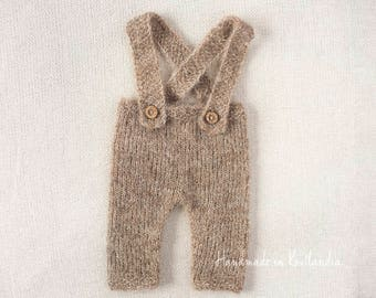 Newborn Alpaca Pants with Suspenders, Newborn Outfit Photo Prop