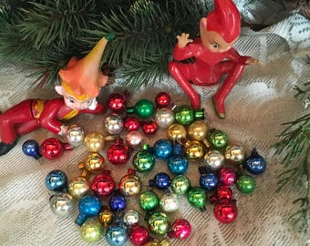 Christmas Ornaments, 1940s Christmas, 50 each, Glass Ornaments, Vintage Ornaments, Mini Ornaments, Japan, Small Ornaments, Feather Tree,