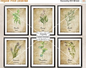 SALE Printable French Country Herbs Watercolor Botanicals Antique French Backgrounds Kitchen Dining Room ~ DIY Instant Download ~ 6 8x10 Pri