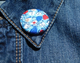 Blue with a hint of Red floral lapel pin
