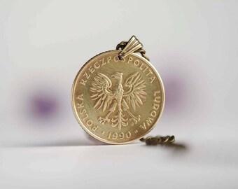 Poland Coin Necklace. 10 Złotych, 1990. Eagle