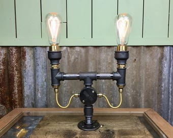 Salthouse : SteamPunk Twin Table Lamp