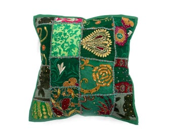 Indian Pure Cotton Cushion Cover Home Patch Work Decorative Green Color Size 17x17""
