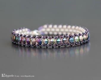 Woman bracelet, purple or blue Swarovski Elements faceted Bohemian style bracelets or beads Pinch RocaillesToho stainless steel lobster clasps