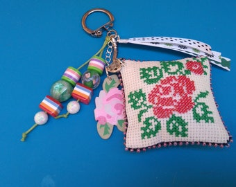 Keychain, handmade embroidered handbag jewelery CUSTOMIZABLE