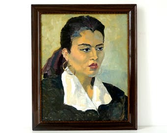 Woman with Hoop Earrings - Large Vintage Portrait - Original Oil Painting
