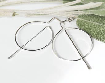 Sterling Silver Hoops, Long Sterling Silver Hoop Earrings, Sterling Silver Circle Earrings, Modern Post Earrings, New Silver Post Earrings