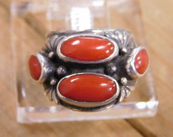 Sterling Silver Multi-Stone Coral Ring