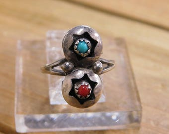 Delicate Sterling Silver Coral and Turquoise Ring Size 6 1/4