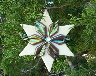 Poinsettia Fused Glass Ornament-White with Lavender Iridescent petals and green leaves