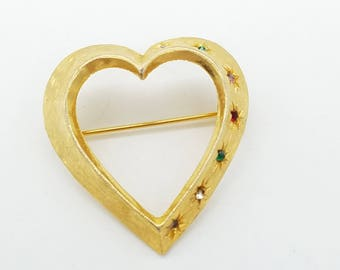 Vintage Signed Accessocraft Rhinestone Studded Gold-Tone Open Heart Brooch
