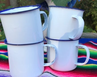 Set of 4 Vintage Enamelware Mugs by Apple Brand / Boy Scout Chic / Bungalow / Camping / Bohemian / Farmhouse