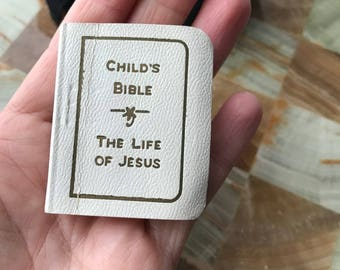 Stitched Leather Tiny Bible 1934 Life of Jesus Child's Easter Baptism Gift Vintage
