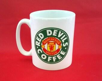 Manchester United Inspired Starbucks Inspired Coffee Mug 10oz Football Club FC Red Devils