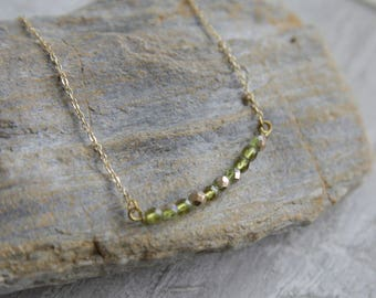 Curved Bar Necklace, Skinny Bar Necklace, Glass Bar Necklace, Skinny Boho Necklace, Dainty Bar Necklace, Green, Olive Green Necklace