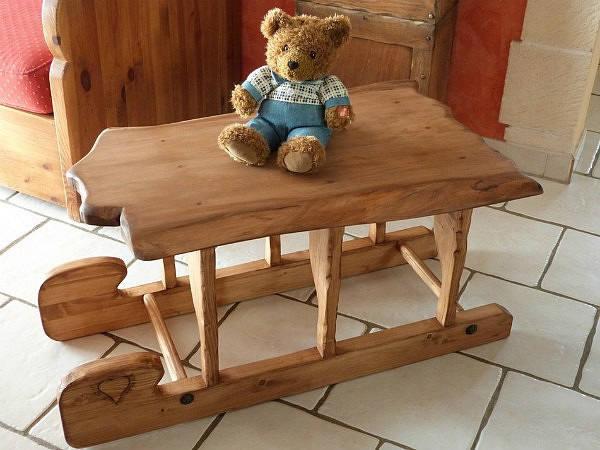 table basse traineau luge lugeon artisanal en bois deco chalet. Black Bedroom Furniture Sets. Home Design Ideas