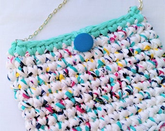 Handmade crocheted bag/Trapillo bag/Blue button bag/Boho bag/Clutch