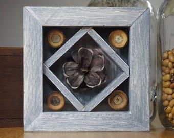 Shadow Box, Nature Decoration, Rustic Decor, Cabin Decor, Cottage Decor, Nature Art, Pine Cone, Acorn, Rustic Wood Decor, Botanical Gift