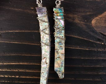 Boho Chic Asymmetrical Abalone Shell Earrings