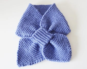 Baby scarf - scarf in blue mesh 1/3 month baby knitted - neck baby.