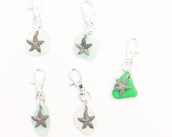 Sea Glass Silver Purse Charm Key Chain Pewter Starfish