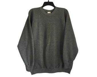 Vintage Fruit of The Loom Plain Solid Blank Gray Crewneck Sweatshirt Large/X-Large