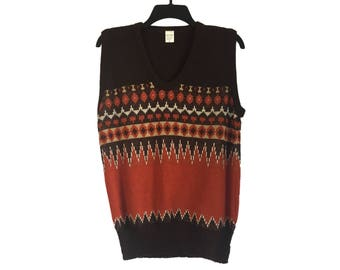 Vintage 70's Brown and Burnt Orange Geometric Pattern Sweater Vest Small/Medium FREE SHIPPING!