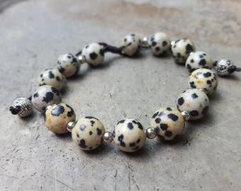 Dalmatian Jasper Mala Bracelet for Meditation - 8mm beads