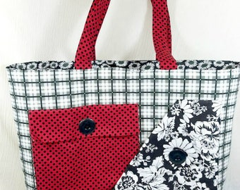 Handmade tote - Women's tote - Professional tote - Teacher tote - Shoulder bag - Large purse - Diaper bag - Tote with pockets - Fabric tote