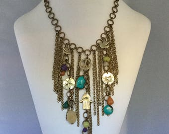Vintage Chain Fringe Charm Necklace