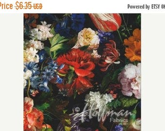 20% Off Blooms Pattern Digital Print Fabric - Vibrant & Lush Multi Colored Floral on Black Background by Hoffman Fabrics 100 Percent Cotton