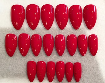 Red Fake Nails * Faux Nails * Glue On Nails * Red Nails * Romantic Nails * Red * Stiletto Nails * Gloss Nails * Matte Nails