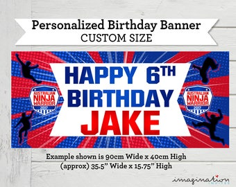 American Ninja Warrior Birthday Banner - ANW Custom Size Sign for Cake Table - Party Decorations