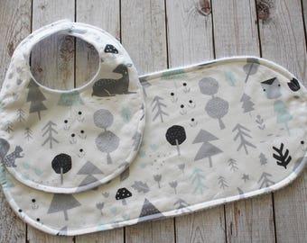Mint and Gray Organic Woodland Bib and Burp Cloth Set
