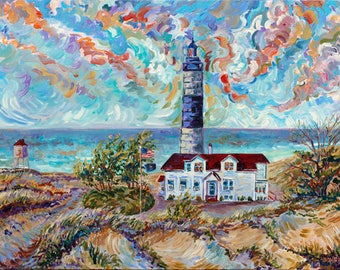 Ludington, Big Sable Point, Lighthouse, Beach, Water, Sand, Dunes, Fine Art Print, Giclee, Canvas Print