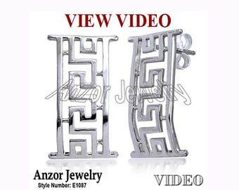925 Sterling Silver Greek Design Earrings  E1087
