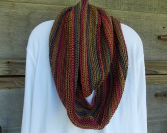 "INFINITY SCARF Crochet Colors POLO Fall Winter Soft Round 68"" Height 7.5"" Soft Yarn Red Heart Boutique Unforgettable"